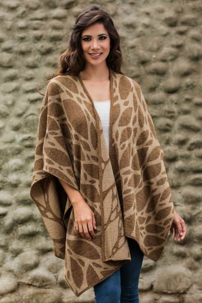 Reversible alpaca blend ruana cape, 'Coffee Leaf' - Reversible Alpaca Blend Brown Ruana Cloak from Peru