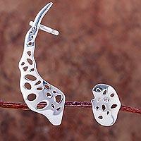 Sterling silver earring cuff, 'Feeling Free? - Handcrafted Sterling Silver Button Earring and Ear Cuff Set
