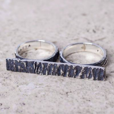 Modern Sterling Silver Textured Ring for Two Fingers