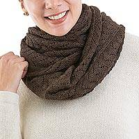 100% alpaca infinity scarf, 'Infinitely Brown' - 100% Baby Alpaca Extra Long Chevron Patterned Unisex Infinit