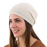 100% alpaca hat, 'Ivory Honeycomb' - Trendy Alpaca Wool Hat in Ivory White Knitted in Peru