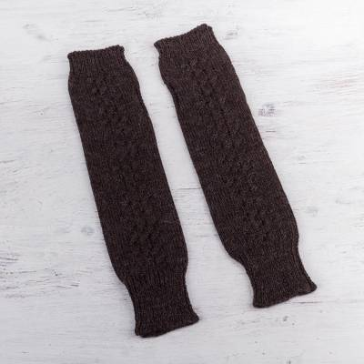 100% alpaca arm warmers, 'Brown Stories' - Arm Warmers Knitted in Brown Alpaca Wool from Peru