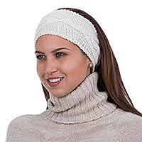 100% alpaca ear warmer, 'Sensational in Ivory' - Patterned 100% Alpaca Ear Warmer Knitted Hair Accessory