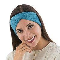 100% alpaca ear warmer, 'Blue Twist' - Blue 100% Alpaca Ear Warmer Knitted in Peru