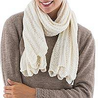 100% baby alpaca shawl, 'Be Versatile' - 100% Alpaca Shawl Soft Off White Color Wrap from Peru