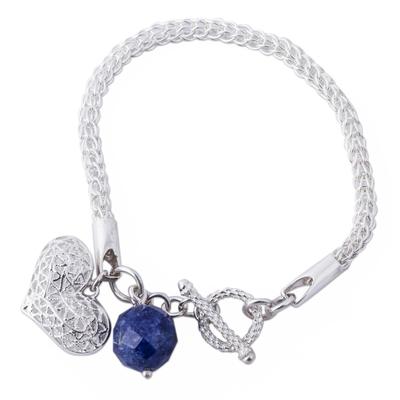 Handcrafted Peruvian Sodalite Heart Charm Bracelet