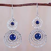 Sodalite dangle earrings, 'Morning Halos' - Sodalite on Sterling Silver Handmade Earrings from Peru