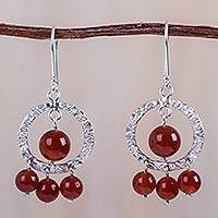 Carnelian chandelier earrings, 'Travesia' - Carnelian on Sterling Silver Chandelier Earrings from Peru
