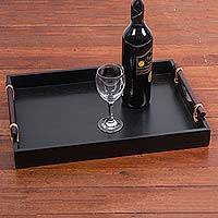 Wood and leather tray, 'Sleek Andes' - Rectangular Wood and Leather Andean Serving Tray