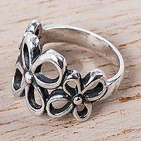 Sterling silver cocktail ring, 'Tres Flores' - Handmade Sterling Silver Cocktail Ring with Floral Motif