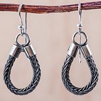 Silver dangle earrings, 'Looped Lasso'