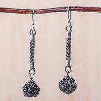 Sterling silver dangle earrings, 'Silver Spheres' - Hand Crafted Sterling Silver Dangle Earrings from Peru