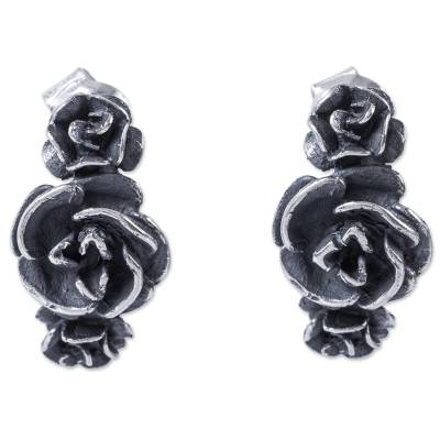 Artisan Crafted Flower Earrings Vintage Style Silver 950