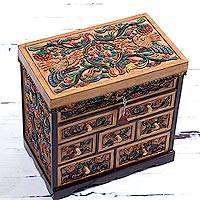 Leather jewelry box, 'Golden Condors' - Birds and Flowers Lined Leather and Wood Jewelry Box