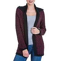 Alpaca blend cardigan, 'Berry Glamour' - Women's Andean Alpaca Blend Purple and Black Open Cardigan