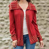 Alpaca blend cardigan, 'Enchanted Crimson' - Alpaca Blend Women's Red and Beige Open Cardigan