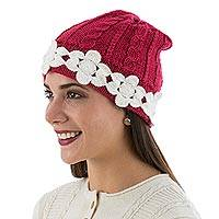 Alpaca blend hat, 'Cherry and Blossoms' - Rose Floral Knit Alpaca Blend Hat from Peru