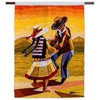 Wool tapestry, 'The Dance' - Andean Handwoven Folk Dance Theme Wool Tapestry