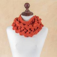 Alpaca neck warmer, 'Bubbling Orange' - Hand Knit Alpaca Orange Neck Warmer with Tiered Bubbles