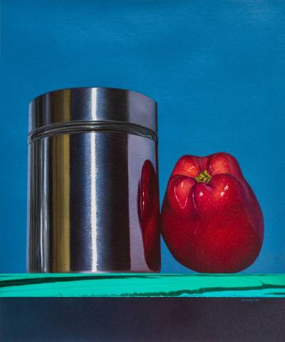 'Elegance in Common Things' (2015) - Modern Realistic Still Life Apple Oil Painting on Canvas