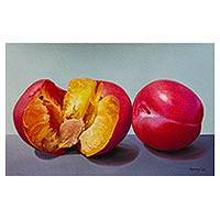 'I Get Lost in Your Flavor' - Original Signed Still Life with Plums Peruvian Painting