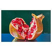 'Approach the Most Intimate' - Andean Original Oil Painting of a Pomegranate