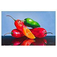 'Natural Reflection' - Original Signed Andean Fine Art Painting of Peppers