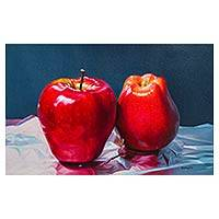 'Sheets of Silver' - Signed Oil on Canvas Apple Painting from Peru