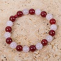 Carnelian and rose quartz stretch bracelet, 'Bright and Beautiful' - Carnelian and Rose Quartz Handcrafted Stretch Bracelet