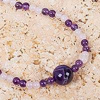 Rose quartz and amethyst beaded pendant necklace, 'Purple Rose' - Handmade Amethyst and Rose Quartz Beaded Necklace from Peru