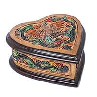 Wood and leather jewelry box, 'Bird of Romance' - Multicolor Heart Shaped Tooled Leather Jewelry Box