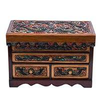 Cedar and leather jewelry box, 'Garden in the Andes' - Colorful Floral Theme Hand Tooled Leather Jewelry Box