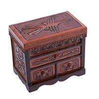 Wood and leather jewelry box, 'Remembering Nazca' - Hand Tooled Leather and Wood Nazca Motif Jewelry Box