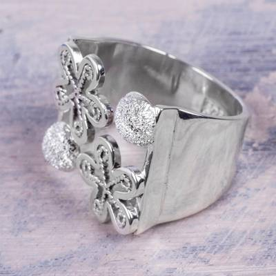 Sterling Silver Artisan Crafted Wide Floral Wrap Ring