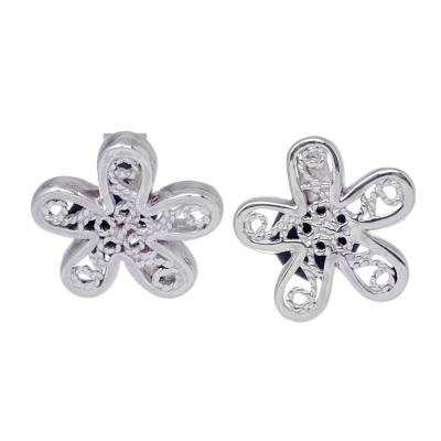 Sterling Silver Artisan Crafted Floral Button Earrings