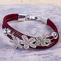 Sterling silver and leather flower bracelet, 'Burgundy Flowers of Rimac' - Artisan Crafted Sterling Silver and Leather Floral Bracelet