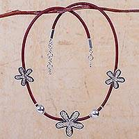 Sterling silver and leather flower necklace, 'Burgundy Flowers of Rimac' - Artisan Crafted Sterling Silver and Leather Floral Necklace