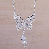Quartz pendant filigree necklace, 'Butterfly Charm' - Handcrafted Sterling Silver Butterfly Necklace with Quartz