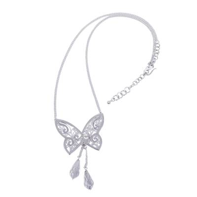 Handcrafted Sterling Silver Butterfly Necklace with Quartz