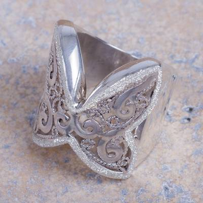 Artisan Crafted Wide Sterling Silver Floral Cocktail Ring