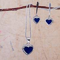 Sodalite jewelry set, 'Love Spring' - Blue Sodalite Sterling Silver Necklace and Earrings Set