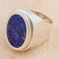 Sodalite cocktail ring, 'Blue Oval Mirror' - Artisan Crafted Sterling Silver Cocktail Ring with Sodalite