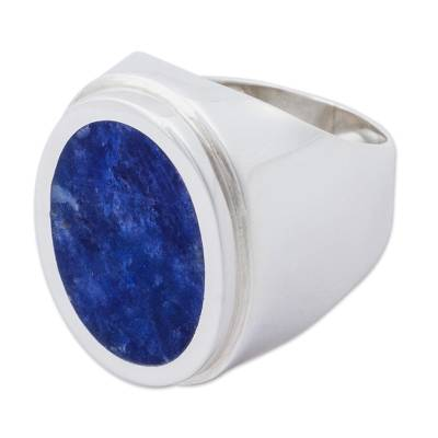 Artisan Crafted Sterling Silver Cocktail Ring with Sodalite