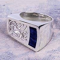 Sodalite cocktail ring, 'Colonial Asymmetric' - Artisan Crafted Sodalite and Sterling Silver Cocktail Ring