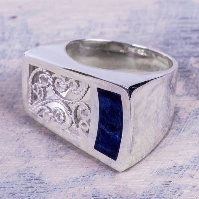 best friend necklaces - Artisan Crafted Sodalite and Sterling Silver Cocktail Ring