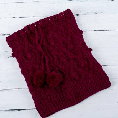 100% alpaca hat or neck warmer, 'Stylish in Red' - Red Alpaca Wool Hand Knitted Neck Warmer or Hat