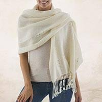 100% alpaca shawl, 'Timeless in Alabaster' - Andean 100% Baby Alpaca Backstrap Loom Handwoven White Shawl
