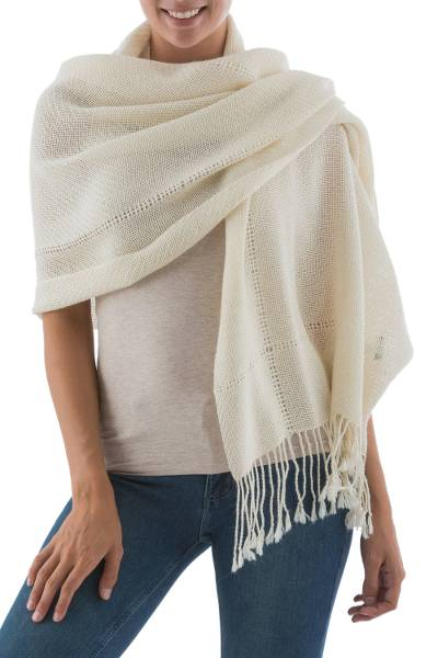 100% alpaca shawl, 'Timeless in Alabaster' - Andean 100% Baby Alpaca Backstrap Loom Handwoven Shawl
