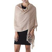 100% alpaca shawl, 'Timeless in Beige' - Baby Alpaca Backstrap Loom Shawl Handwoven in Beige