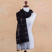 100% alpaca scarf, 'Midnight in Juliaca' - Women's Handwoven Black 100% Alpaca Wool Scarf